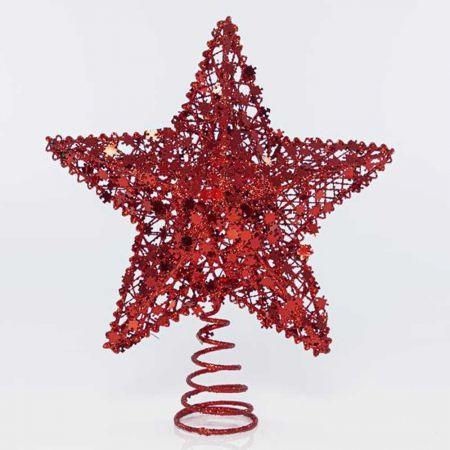 Κορυφή Χριστουγεννιάτικου δέντρου Αστέρι με παγιέτες - puzzle Κόκκινη 21x7x24,5cm