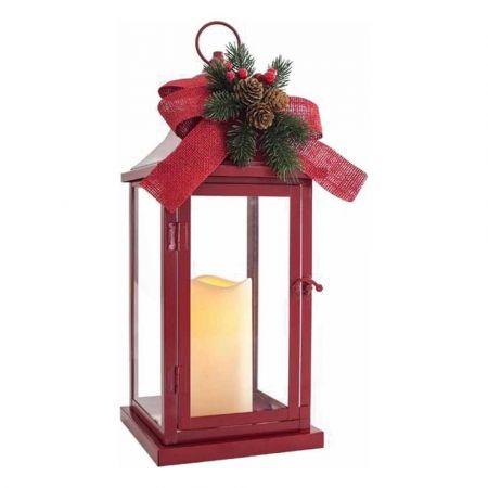 Διακοσμητικό επιτραπέζιο φαναράκι μεταλλικό με φωτισμό LED μπαταρίας Κόκκινο 17x17x40,5cm