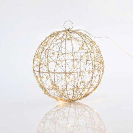 Φωτιζόμενη συρμάτινη μπάλα 10LED με χάντρες και glitter Σαμπανί 20cm