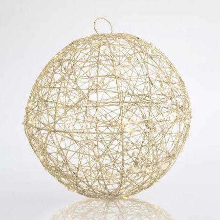 Φωτιζόμενη συρμάτινη μπάλα 30LED με χάντρες και glitter Σαμπανί 30cm