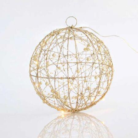 Φωτιζόμενη συρμάτινη μπάλα 20LED με χάντρες και glitter Σαμπανί 25cm