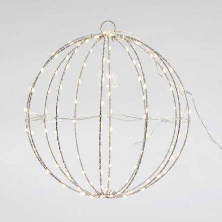 Φωτιζόμενη μπάλα 144microLED IP44 Ασημί σύρμα / Θερμό Λευκό LED 30cm