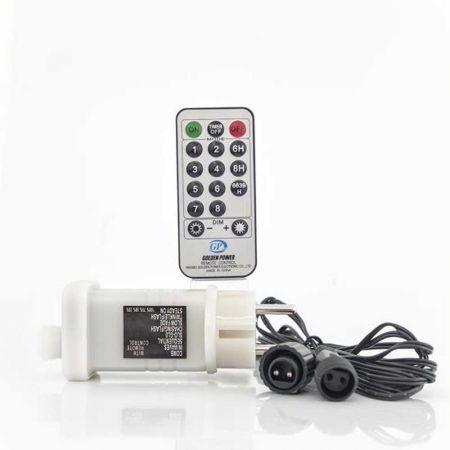 Μετασχηματιστής IP44 για LED λαμπάκια σε σειρά με controller για μνήμη και πρόγραμμα και dimmer Λευκό 3m