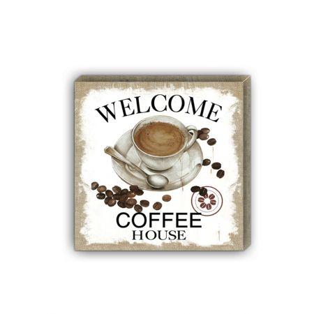 Ξύλινο Κάδρο τοίχου WELCOME COFFEE 40x40cm