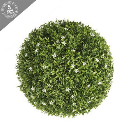 Διακοσμητική τεχνητή μπάλα - Λευκά ανθάκια 38cm