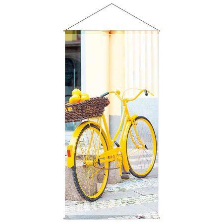 Διακοσμητική αφίσα από ύφασμα - Yellow Bicycle - 100x200cm
