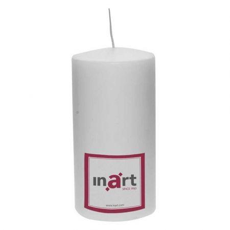 Διακοσμητικό κερί - κορμός Λευκό 9x18cm