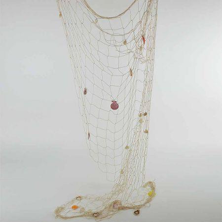 Διακοσμητικό δίχτυ ψαρέματος χοντρό Μπεζ με κοχύλια 150x200cm