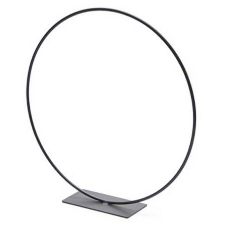 Διακοσμητικός μεταλλικός κρίκος - σταντ - κύκλος με βάση - Μαύρος 100cm