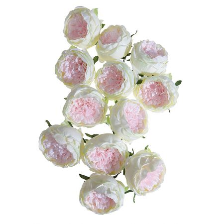 Σετ 12τχ διακοσμητικά άνθη τριαντάφυλλου Ροζ - Λευκό 10cm