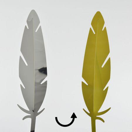 Διακοσμητικό φτερό PVC Χρυσό - Ασημί 42x10cm