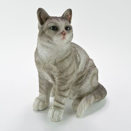Διακοσμητική γάτα καθιστή Polyresin Γκρι 25x23x31cm