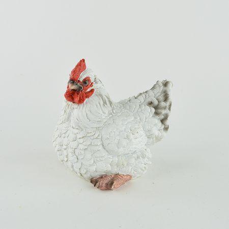 Διακοσμητική Κότα καθιστή Polyresin Λευκή 15x10x15cm