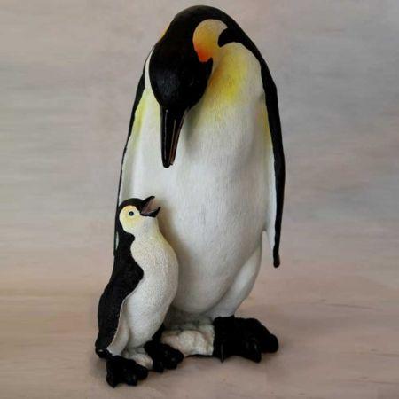 Διακοσμητικό Ζευγάρι Πιγκουίνοi Polyresin Λευκό - Μαύρο 22x26x40cm