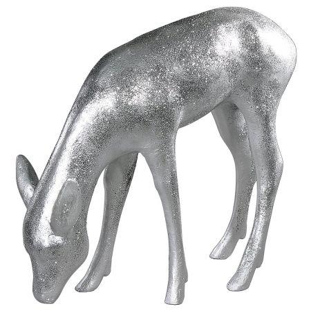 Διακοσμητικό ελάφι σκυφτό Ασημί glitter 75x80cm