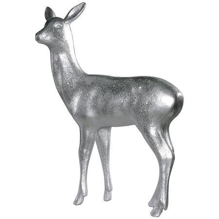 Διακοσμητικό ελάφι όρθιο Ασημί 115x90cm