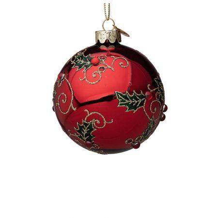 Χριστουγεννιάτικη μπάλα γυάλινη με γκι και glitter - Κόκκινη γυαλιστερή 8cm