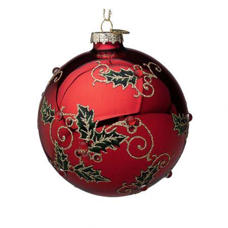 Χριστουγεννιάτικη μπάλα γυάλινη με γκι και glitter - Κόκκινη γυαλιστερή 10cm