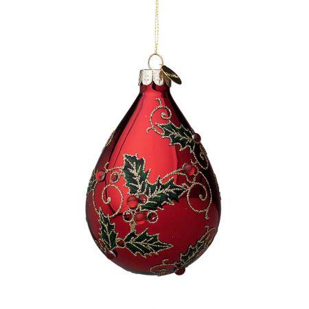 Χριστουγεννιάτικη μπάλα - δάκρυ γυάλινη με γκι και glitter - Κόκκινη γυαλιστερή 7x10,5cm