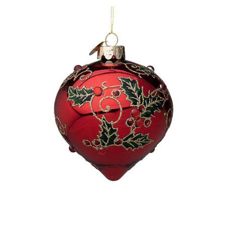 Χριστουγεννιάτικη μπάλα - δάκρυ γυάλινη με γκι και glitter - Κόκκινη γυαλιστερή 8x9cm