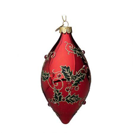 Χριστουγεννιάτικη μπάλα - δάκρυ γυάλινη με γκι και glitter - Κόκκινη γυαλιστερή 6,7x13cm