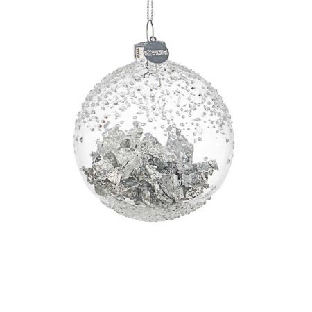 Χριστουγεννιάτικη μπάλα γυάλινη με φύλλα Ασημί - Διάφανη 8cm