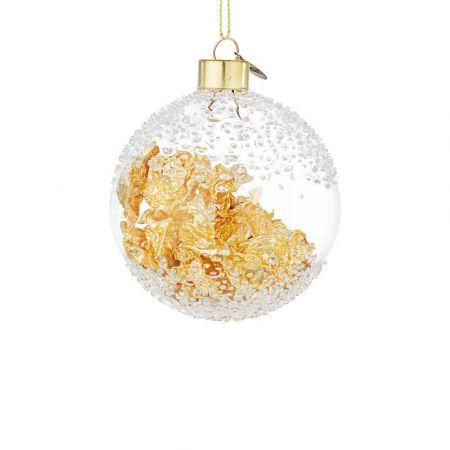 Χριστουγεννιάτικη μπάλα γυάλινη με φύλλα Χρυσού - Διάφανη 8cm