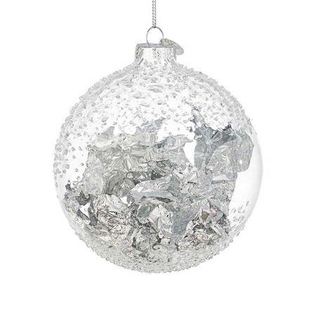 Χριστουγεννιάτικη μπάλα γυάλινη με φύλλα Ασημί - Διάφανη 10cm