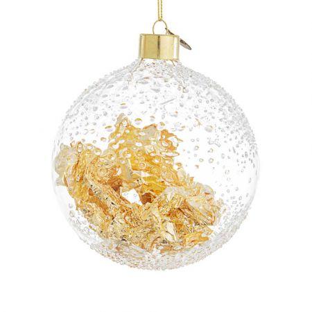 Χριστουγεννιάτικη μπάλα γυάλινη με φύλλα Χρυσού - Διάφανη 10cm