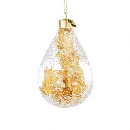 Χριστουγεννιάτικη μπάλα - δάκρυ γυάλινη με φύλλα Χρυσού - Διάφανη 7,1x11,2cm