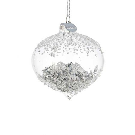 Χριστουγεννιάτικη μπάλα - δάκρυ γυάλινη με φύλλα Ασημί - Διάφανη 8,3x8,4cm
