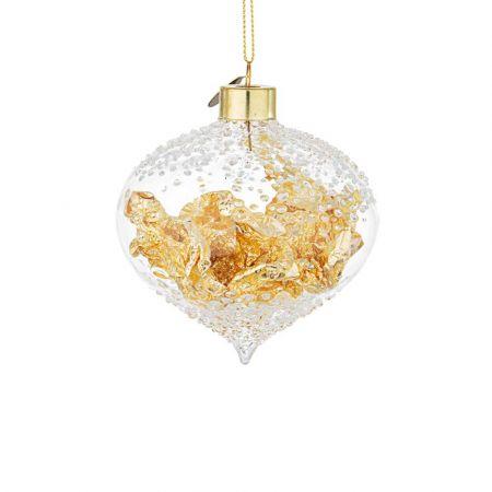 Χριστουγεννιάτικη μπάλα - δάκρυ γυάλινη με φύλλα Χρυσού - Διάφανη 8,3x8,4cm