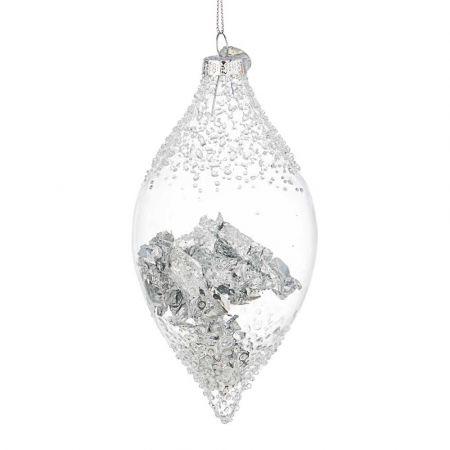 Χριστουγεννιάτικη μπάλα - δάκρυ γυάλινη με φύλλα Ασήμι - Διάφανη 7x14,6cm