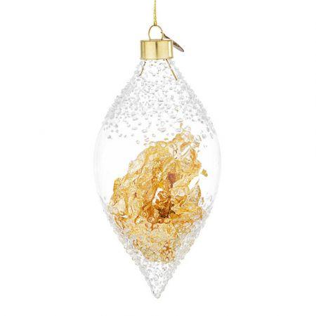 Χριστουγεννιάτικη μπάλα - δάκρυ γυάλινη με φύλλα Χρυσού - Διάφανη 7x14,6cm