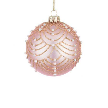 Χριστουγεννιάτικη μπάλα γυάλινη με πέρλες και glitter - Ροζ ματ 8cm
