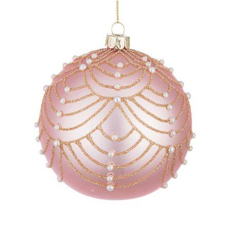 Χριστουγεννιάτικη μπάλα γυάλινη με πέρλες και glitter - Ροζ ματ 10cm