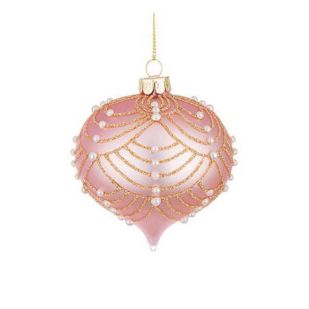 Χριστουγεννιάτικη μπάλα - δάκρυ γυάλινη με πέρλες και glitter - Ροζ ματ 8x9cm