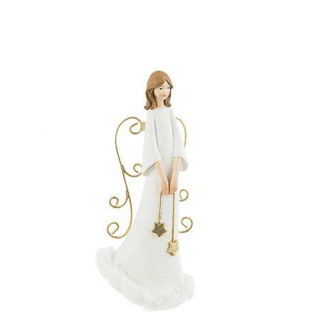 Επιτραπέζιο διακοσμητικό - Άγγελος polyresin Λευκός 10x8x22cm