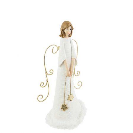 Επιτραπέζιο διακοσμητικό - Άγγελος polyresin Λευκός 12x10x30cm