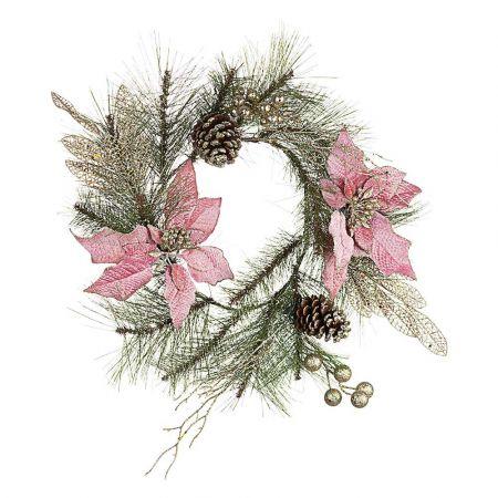 Χριστουγεννιάτικο στεφάνι στολισμένο με λουλούδια και κουκουνάρια 40cm