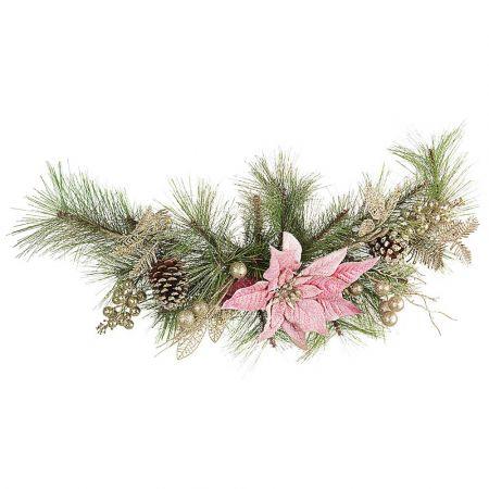 Χριστουγεννιάτικη σύνθεση - γιρλάντα στολισμένη με λουλούδια και κουκουνάρια 24x10x65cm