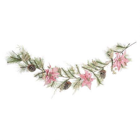 Χριστουγεννιάτικη γιρλάντα στολισμένη με λουλούδια και κουκουνάρια 180cm