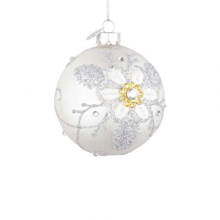 Χριστουγεννιάτικη μπάλα γυάλινη με κέντημα λουλούδι - Λευκή ματ 8cm