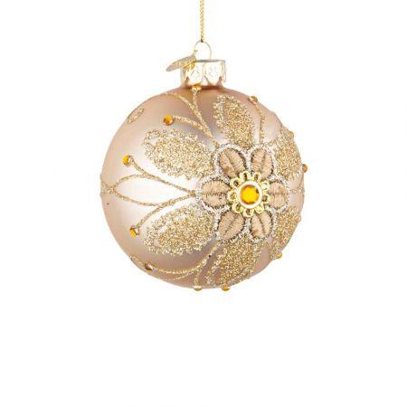 Χριστουγεννιάτικη μπάλα γυάλινη με κέντημα λουλούδι - Χρυσή ματ 8cm