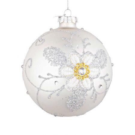 Χριστουγεννιάτικη μπάλα γυάλινη με κέντημα λουλούδι - Λευκή ματ 10cm