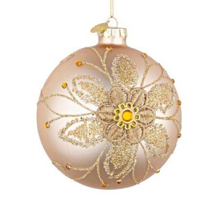 Χριστουγεννιάτικη μπάλα γυάλινη με κέντημα λουλούδι - Χρυσή ματ 10cm