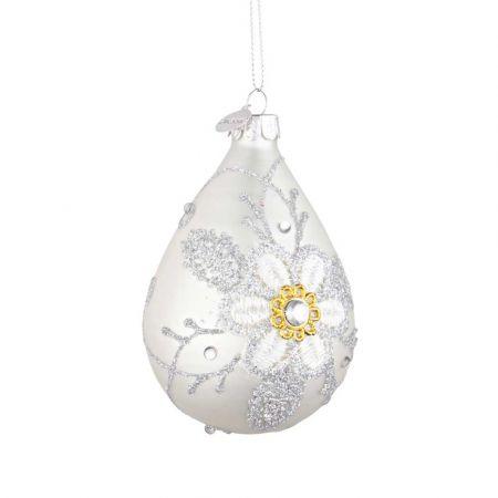 Χριστουγεννιάτικη μπάλα - δάκρυ γυάλινη με κέντημα λουλούδι - Λευκή ματ 6,7x10,2cm