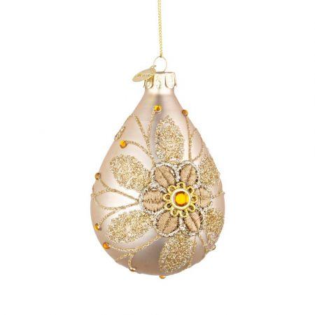 Χριστουγεννιάτικη μπάλα - δάκρυ γυάλινη με κέντημα λουλούδι - Χρυσή ματ 6,7x10,2cm