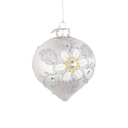 Χριστουγεννιάτικη μπάλα - δάκρυ γυάλινη με κέντημα λουλούδι - Λευκή ματ 8x9cm