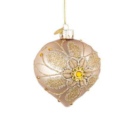 Χριστουγεννιάτικη μπάλα - δάκρυ γυάλινη με κέντημα λουλούδι - Χρυσή ματ 8x9cm